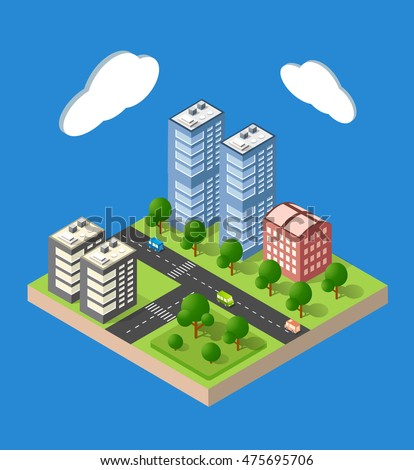 Flat 3d isometric urban city infographic concept. Township center map with buildings, shops and roads on the plane.
