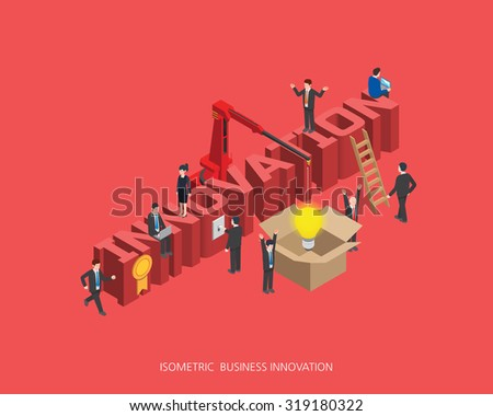 Flat 3d isometric vector illustration innovation concept design, Abstract urban modern style, high quality business series.  - stock vector