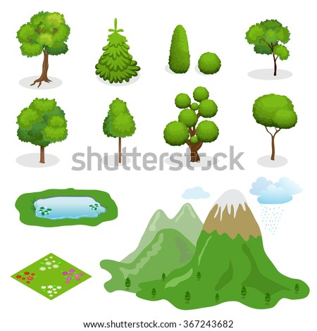 Flat 3d Isometric vector trees elements for landscape design. Diversity of trees, mountains, lake, bushes, meadow with flowers set on white - stock vector
