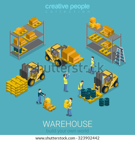 Flat 3d isometric warehouse delivery storage building interior transport infographic concept. Loader forklift pallet shelf storage stand. Build your own infographics world collection. - stock vector