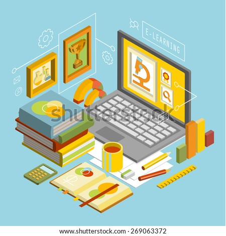 Flat 3d scientific research, education, teaching, coaching, e-learning, class infographic concept vector - stock vector
