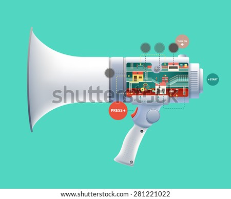 Flat 3d web isometric infographic social media promotion online marketing modern technology communication concept. Huge loudspeaker micro people work created Spread the word Creative people collection - stock vector