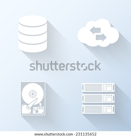 Flat data storage icons. Vector illustration - stock vector