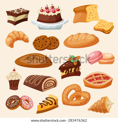 Flat decorative icon pastry and sweets set isolated vector illustration - stock vector