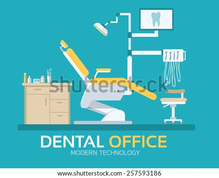 flat dentist office illustration design background. Vector illustration for colorful template for you design, web and mobile applications - stock vector