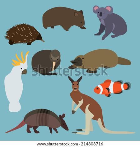 Flat design animals of Australia - stock vector