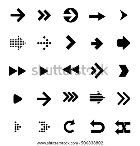 Flat design arrow vector icon set for navigation and media player.