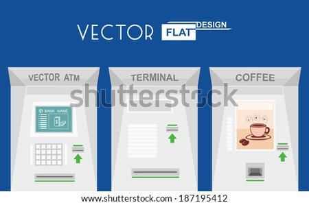 Flat design atm, terminal, coffee. Vector illustration - stock vector