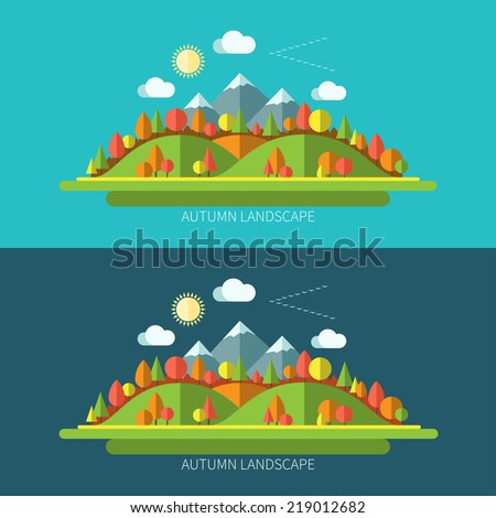 Flat design autumn nature landscape illustrations with sun, hills, moutains, trees and clouds on light and dark backgrounds - stock vector
