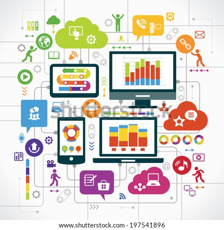 flat design background the Communications in a global computer network. Vector concept network marketing. Smartphone, tablet, laptop, monitor surrounded interface icons, speech bubbles and clouds. - stock vector