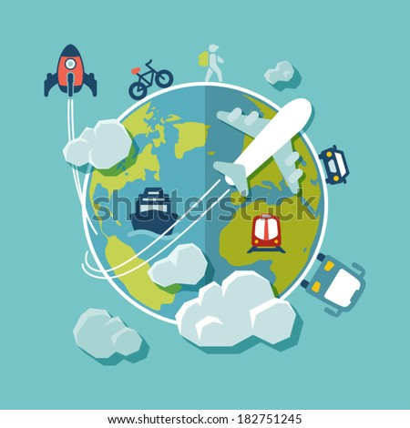 Flat design background travel around world stock vector for All around the world cruise
