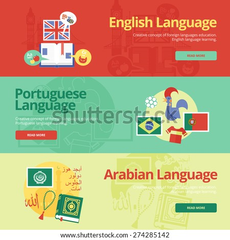Flat design banners for english, portuguese, arabian. Foreign languages education concepts for web banners and print materials. - stock vector