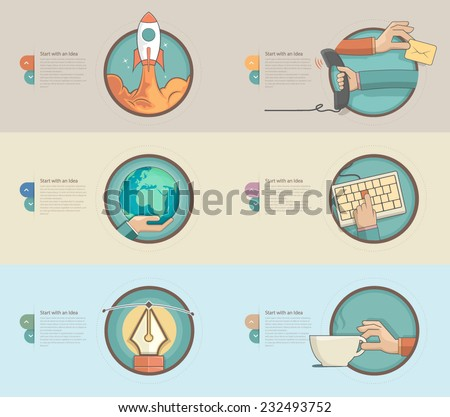 Flat design banners with set of flat concept icons for web design and business templates - stock vector