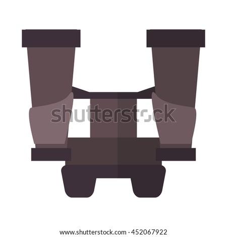 flat design big binoculars icon vector illustration - stock vector