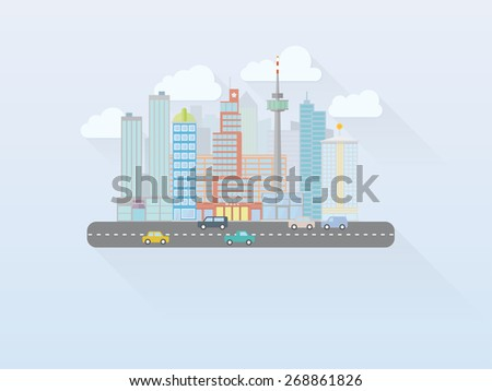 Flat Design Big Cityscape Vector. Simple illustration of mega city cityscape with main street, flat design, long shadow