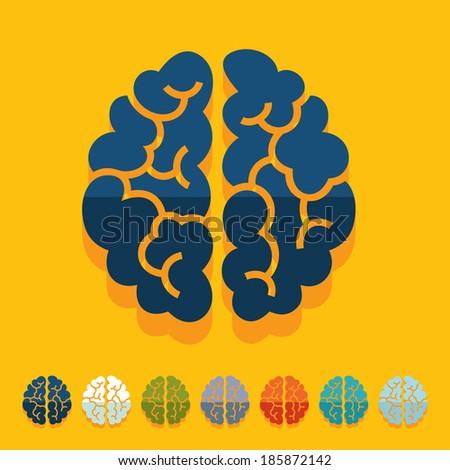Flat design: brain - stock vector