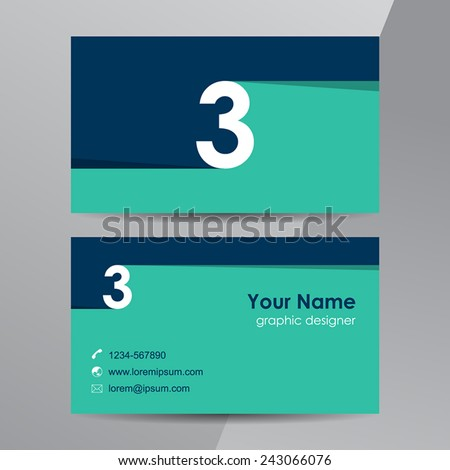 Flat design. Business cards template with number 3. - stock vector