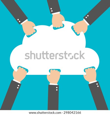 Flat design, Businessman hand picked clouds, Cloud Computing idea concept - stock vector