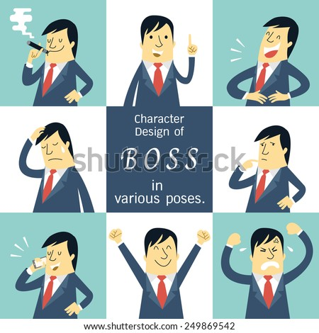 Flat design character set of boss or manager in various poses, feeling and emotional expression concept.  - stock vector