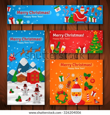 Flat Design Christmas and New Year Greeting Cards and Banners. Vector Illustration. Santa Claus and New Year Gifts. Evening Mountain Town. Wooden Background. - stock vector