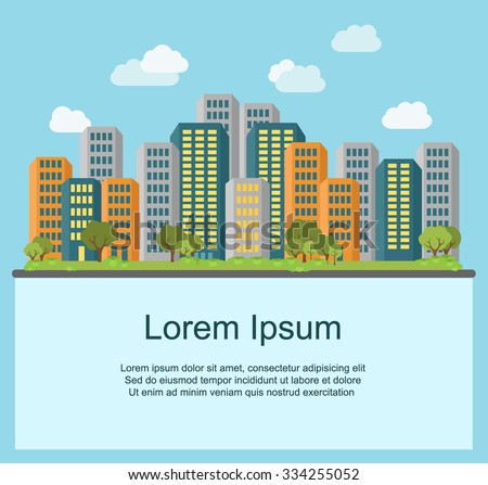 Flat design cityscape. Urban landscape, building and architecture. Modern city ilustration - stock vector