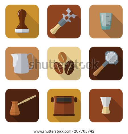 flat design coffee barista equipment icons set - stock vector