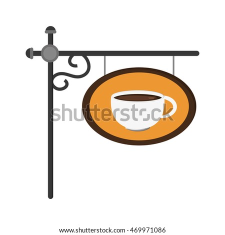 flat design coffee sign icon vector illustration