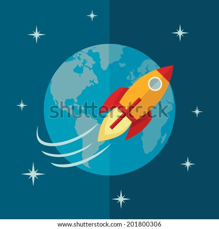 Flat design colored illustration of space rocket flying around Earth in space, concept for business startup - stock vector
