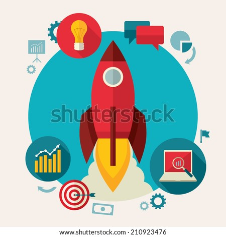 Flat design colored vector illustration concept of startup, starting new project, fulfilling business idea - stock vector