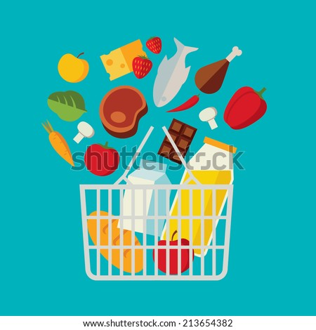 Flat design colored vector illustration of food and drink products falling down into basket, concept for retail. Isolated on bright background - stock vector