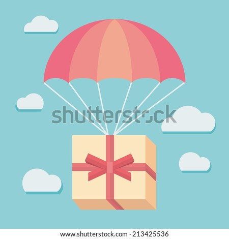 Flat design colored vector illustration of gift box flying down from sky with parachute, concept for delivery service, congratulating - stock vector