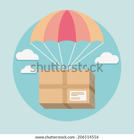 Flat design colored vector illustration of package going down from sky with parachute, concept for delivery service  - stock vector