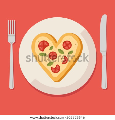 Flat design colored vector illustration of pizza in shape of heart on plate with fork and knife, concept for pizzeria. Isolated on stylish background - stock vector