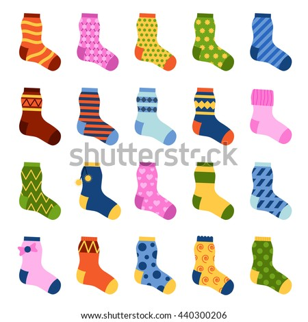 Flat design colorful socks set vector illustration. Selection of various socks on white background. Textile warm clothes socks pair cute decoration wool winter clothing. Sport season collection. - stock vector