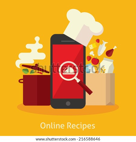 Flat design colorful vector illustration concept for cooking at home, searching recipes, culinary instructions in internet isolated on bright background - stock vector
