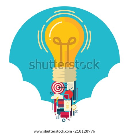 Flat design colorful vector illustration concept for creative idea isolated on white background - stock vector
