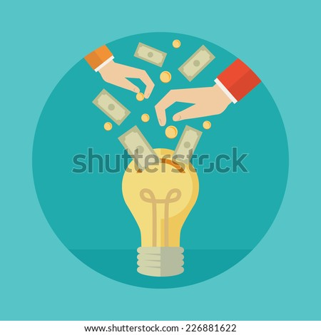 Flat design colorful vector illustration concept for crowdfunding, investing into ideas isolated on bright background - stock vector