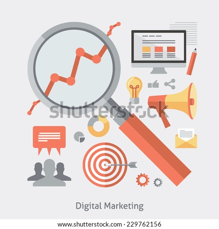 Flat design colorful vector illustration concept for digital marketing, engaging with stakeholders using technology isolated on light background - stock vector