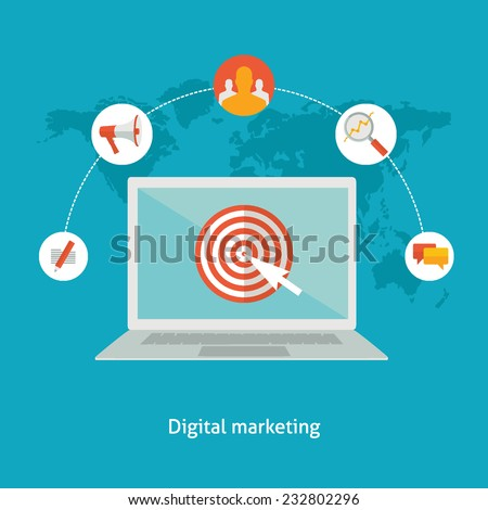Flat design colorful vector illustration concept for digital marketing, engaging with stakeholders using technology, virtual communication, social network isolated on bright background  - stock vector
