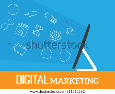 Flat design colorful vector illustration concept for digital marketing, virtual communication, social network. Monitor and icons - stock vector