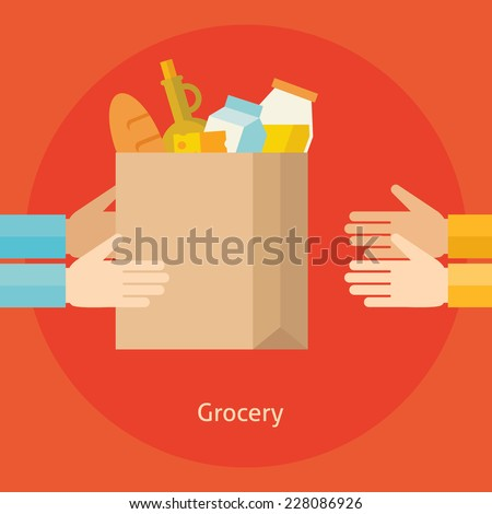 Flat design colorful vector illustration concept for grocery delivery isolated on bright background  - stock vector