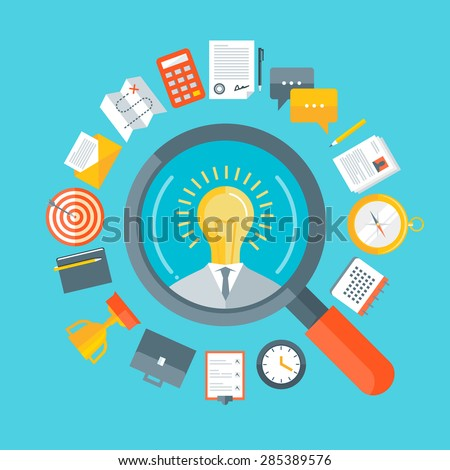 Flat design colorful vector illustration concept for human resource management, headhunting, searching talented creative employees, selecting professional staff isolated on bright  background  - stock vector