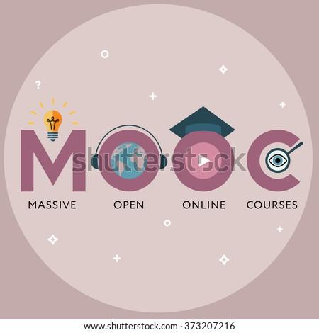 Flat design colorful vector illustration concept for MOOC, Massive Open Online Courses - stock vector