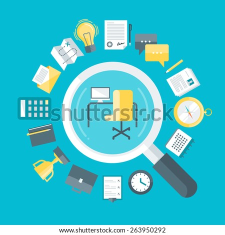 Flat design colorful vector illustration concept for searching job, looking for a vacancy, professional development, career opportunities isolated on bright background  - stock vector
