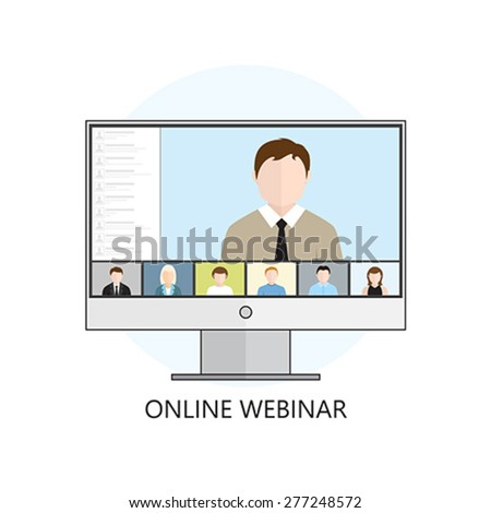 Flat design colorful vector illustration concept for webinar, online learning, professional lectures in internet. Isolated on white background - stock vector