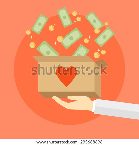 Flat design colorful vector illustration donating money, funding charity projects isolated on bright background  - stock vector