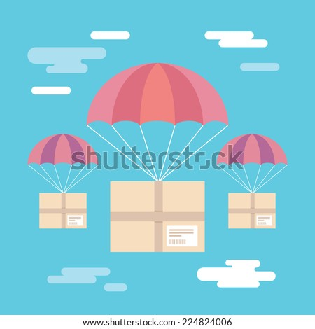 Flat design colorful vector illustration of parcels flying down from sky with parachutes, concept for delivery service isolated on bright background  - stock vector