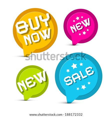 Flat Design Colorful Vector Stickers - Labels Set with New Title, Sale and Buy Now - stock vector