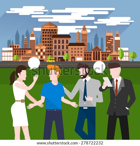 Flat design concept business people discuss on city background - stock vector