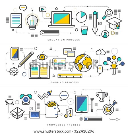 Flat design concept education process like videro online digital marketing internet thing. Vector illustrate thin line style. - stock vector